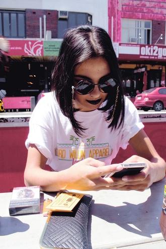 sunglasses platform shoes pale kawaii cute grunge soft grunge shirt willin apparel white t-shirt cuffed sleeves top black lipstick denim tumblr round sunglasses
