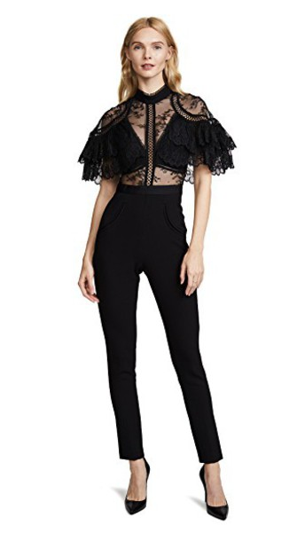 jumpsuit lace black self portrait black jumpsuit feminine