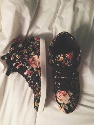 shoes flowers floral sneakers trainers rose black cute white