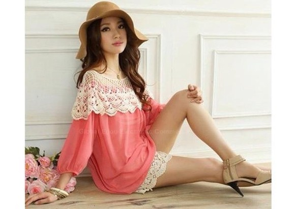 crochet blouse hippie shirt lace shoulders flows fushia sleeves long-sleeves