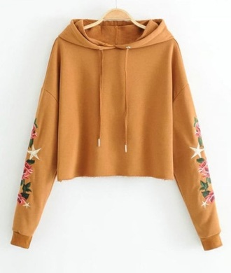 sweater embroidered girly hoodie sweatshirt crop cropped cropped sweater floral flowers