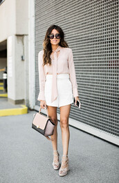 hello fashion,blogger,shorts,blouse,shoes,bag,sunglasses,white shorts,long sleeves,pink bag,nude bag,lace up heels,thick heel,celine bag,neutral