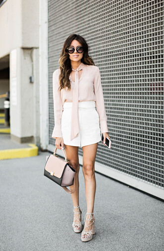 hello fashion blogger shorts blouse shoes bag sunglasses white shorts long sleeves pink bag nude bag lace up heels thick heel celine bag neutral