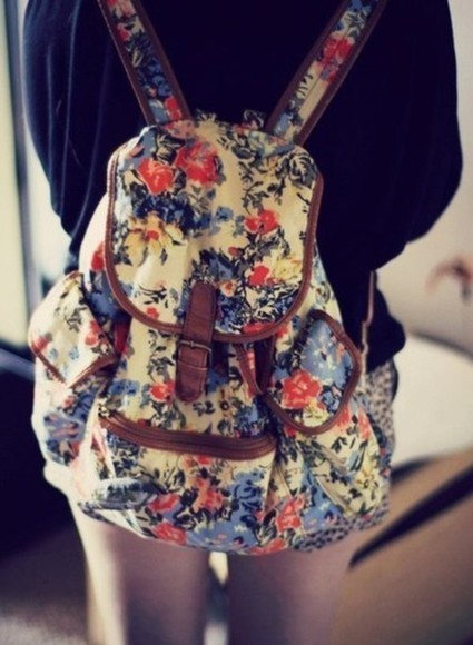 bag flowers backpacks floral backpack printed blue red yellow cute rucksack brown leather printed bag girls women сумка fashion pretty shopping bags