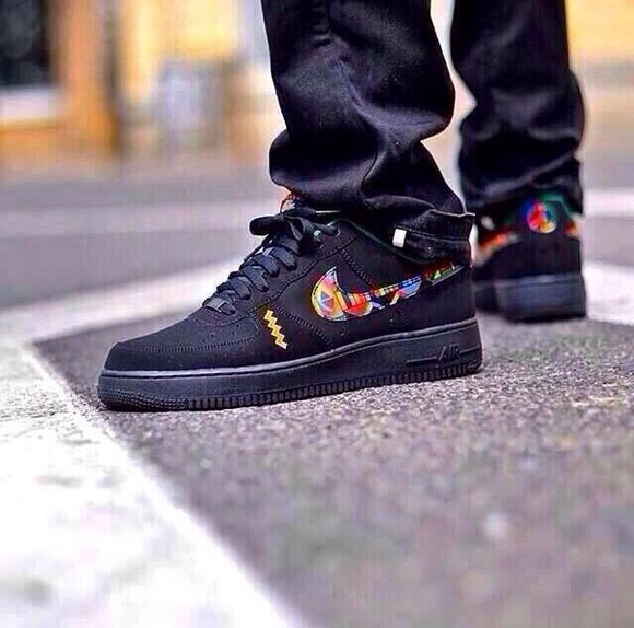 pattern shoes black nike sneakers nike air force 1 nike nike air