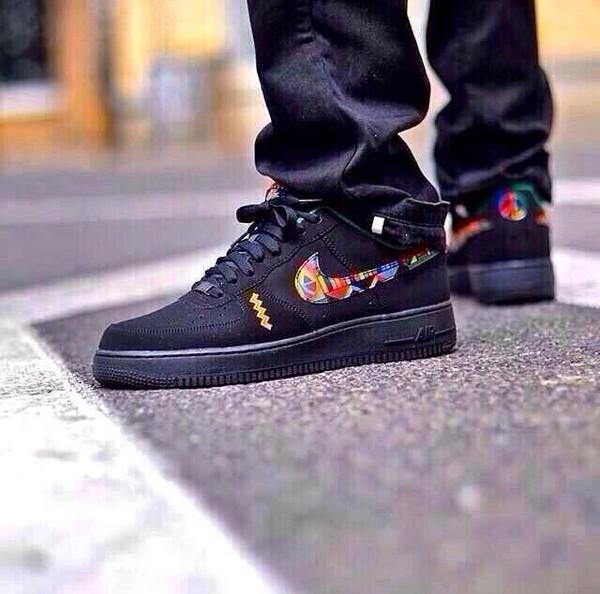 shoes black nike sneakers nike air force 1 nike nike air pattern