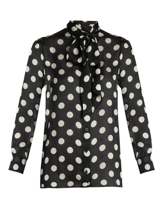 blouse print silk black top