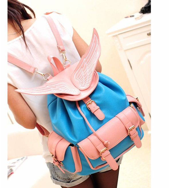 Free shipping for china post fashion vogue buckle embellished wings embroidered backpack bluelp13081301