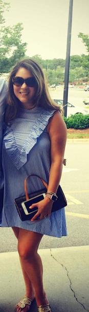 dress blue and white striped dress ruffle dress