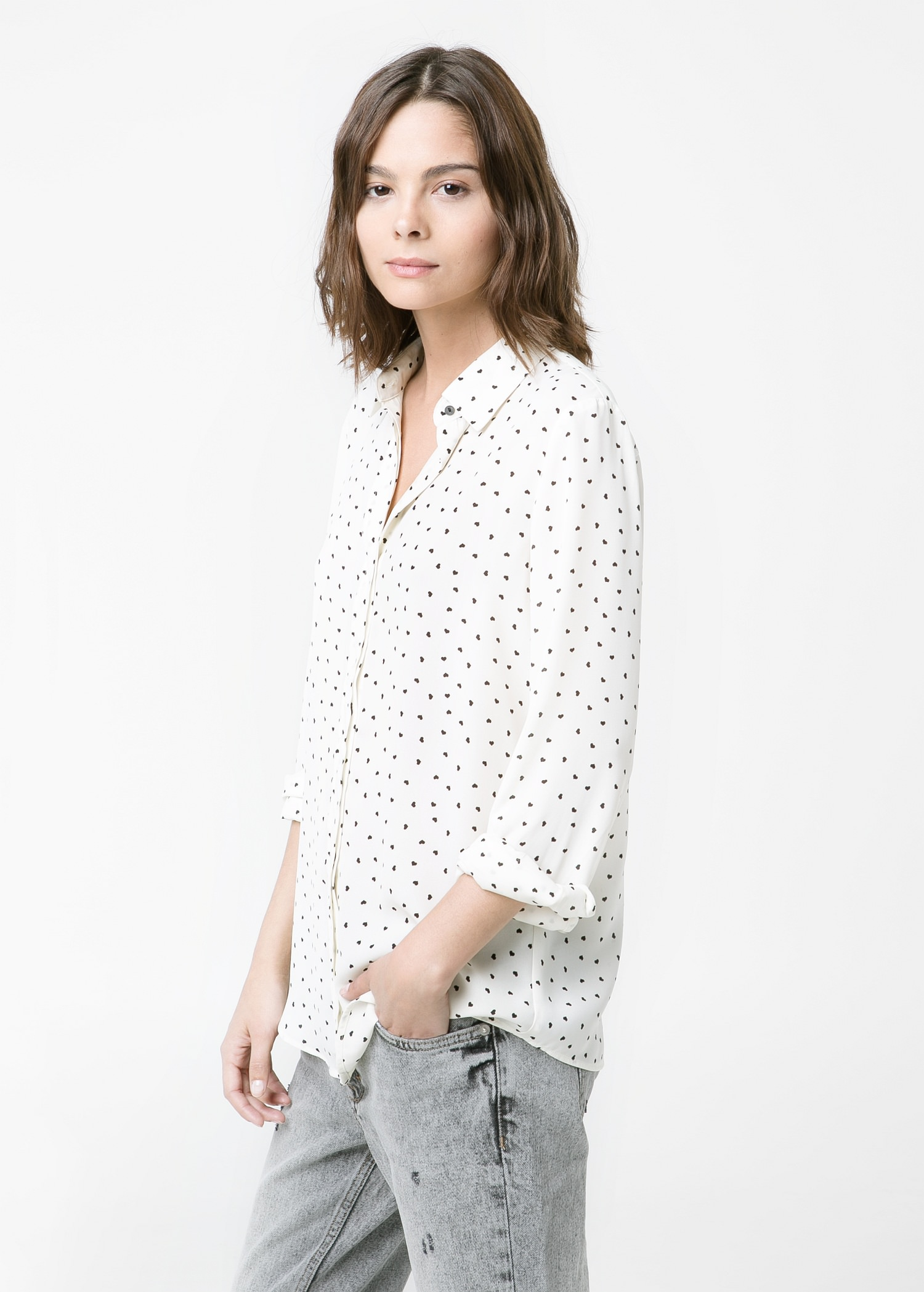 Heart-print flowy shirt - Jeans for Women | MANGO