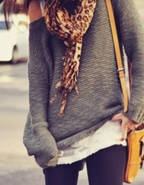 Sweater: grey, big, loose, comfy - Wheretoget