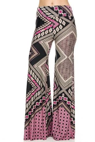 pants palazzo pants colorful palazzos pink fuchsia black colorful summer trendy free shipping tribal pattern aztec comfy