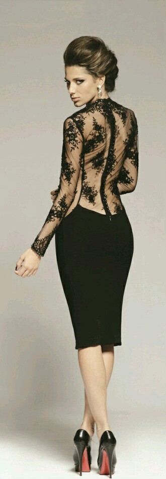 dress long sleeve embroidery black gown elegant