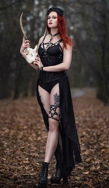 skirt garter pentagram black harness body harness body harnesses corset stud studs goth goth emo alternative boots rose headband flower headband top underwear