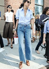 shirt,blue shirt,flare jeans,fashion week,le fashion image,blogger,sunglasses,jeans,mom jeans,button up,statement necklace,streetwear,Cropped Flared Jeans