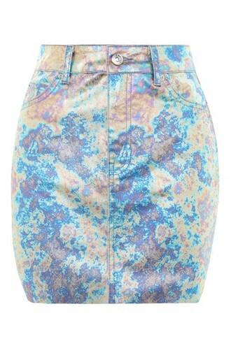 skirt mini skirt mini metallic blue