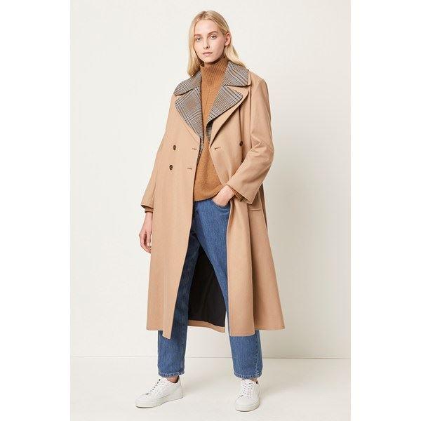Carmelita Platform Felt Check Collar Coat - camel multi
