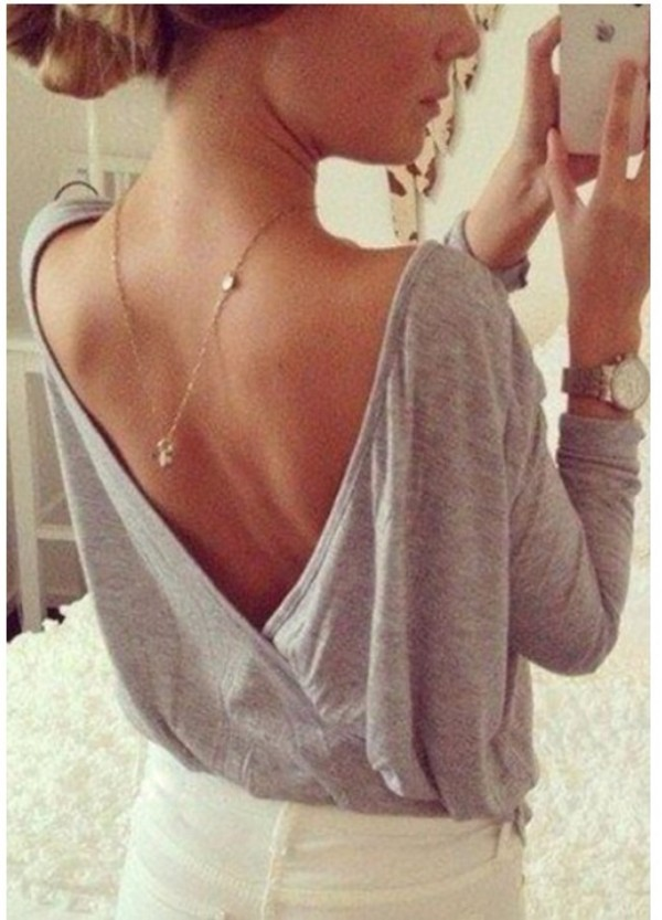 blouse visible back grey shirt