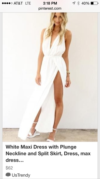 dress white sexy chic summer spring slit open back white dress plunge neckline deep plunge neckline