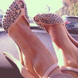 shoes peep toe nude heels