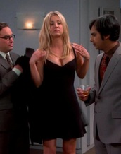 dress,black,big bang theory,kaley cuoco,black dress