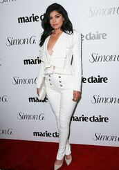 pants,top,blazer,kylie jenner,pumps,all white everything,plunge v neck,suit,kardashians,shoes,all white outfit