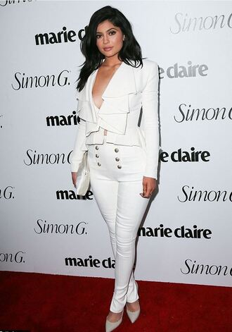 pants top blazer kylie jenner pumps all white everything plunge v neck suit kardashians shoes all white outfit