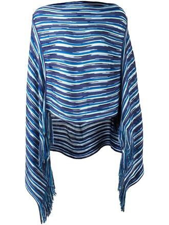 poncho knit pattern blue top