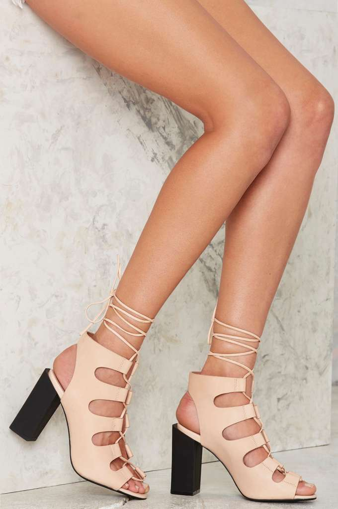 Campbell Be My Leather Lace-Up Heels - Beige