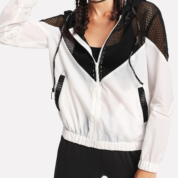 jacket girly black black and white windbreaker mesh hoodie zip zip-up zip up jacket white