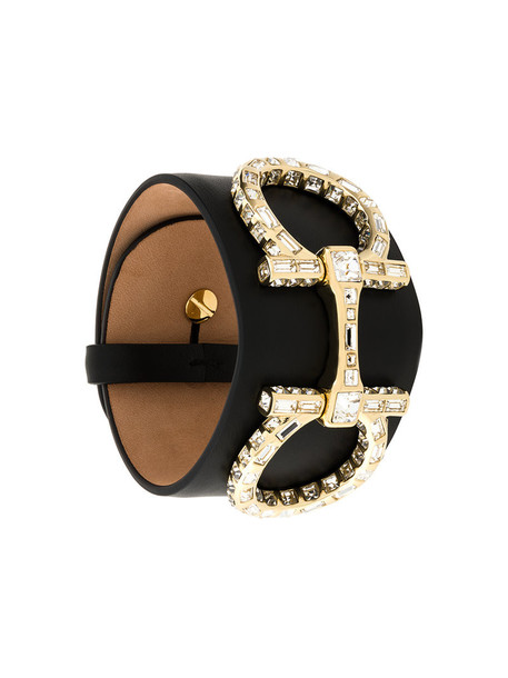 cuff women embellished leather black jewels