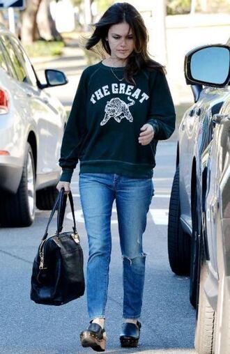sweater sweatshirt fall outfits rachel bilson jeans