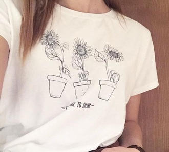 blouse sunflower white t-shirt t shirt print print flowers floreal dress flower shirt