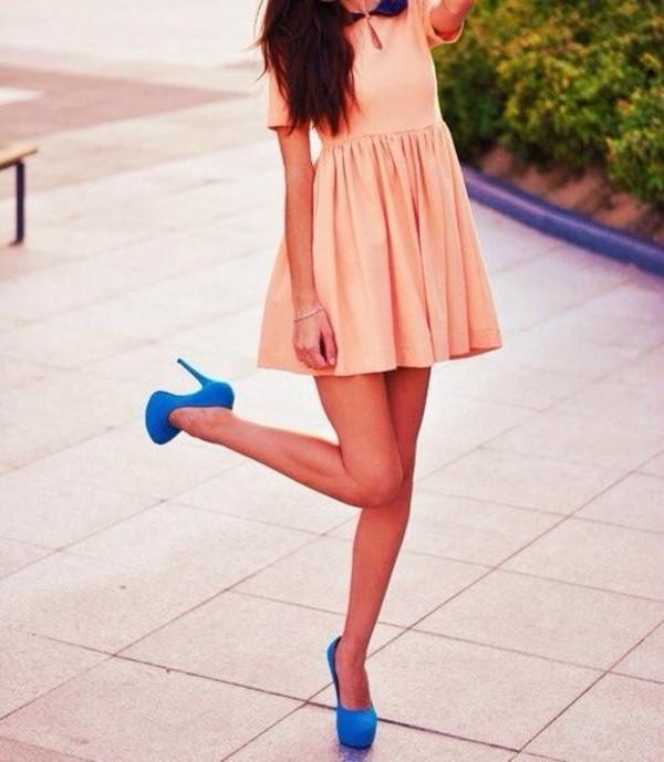 dress babydoll dress peter pan collar baby pink shoes blue pumps blue high heels high heels pumps blue pink pink dress summer rose orange short dress