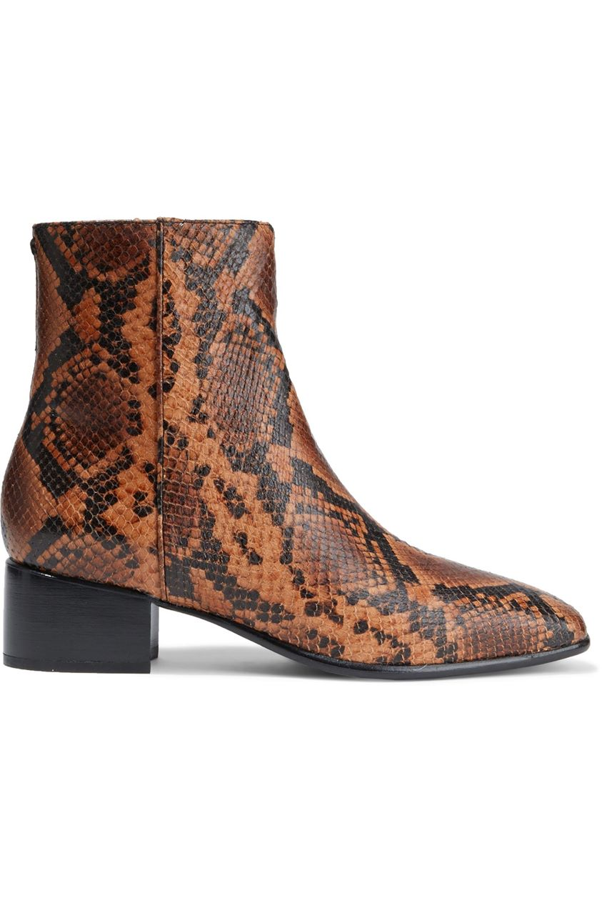 Rag & Bone Woman Aslen Snake-effect Leather Ankle Boots Animal Print Size 36.5