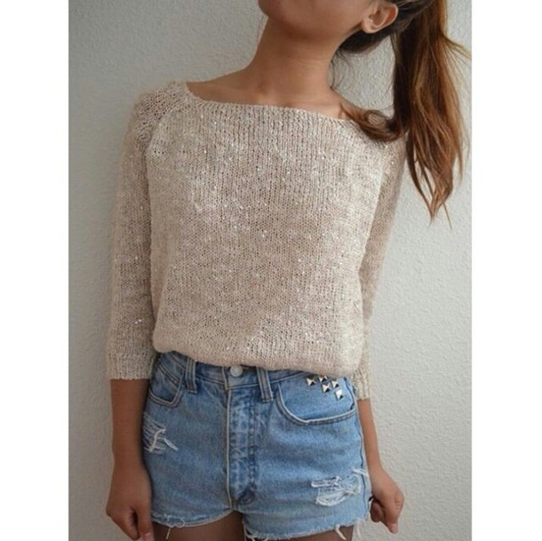 attractive Tumblr Teenage Girl Outfits Part - 15: shorts bejeweled High waisted shorts light wash shorts cute shorts sweater  beige sweater tumblr outfit tumblr