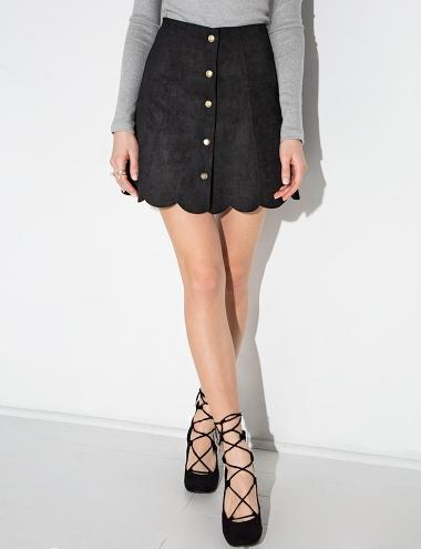 Black Suede Scalloped Button Mini Skirt