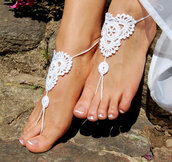 shoes,nude shoes,foot jewelry,anklet,white,yoga socks,pool wear,crochet barefoot sandals,beach wedding shoes,beach wedding sandal