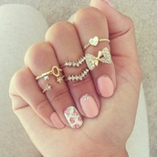 jewels,floral,jewelry,ring,bows,gold,gold ring,pink,cute,nail polish