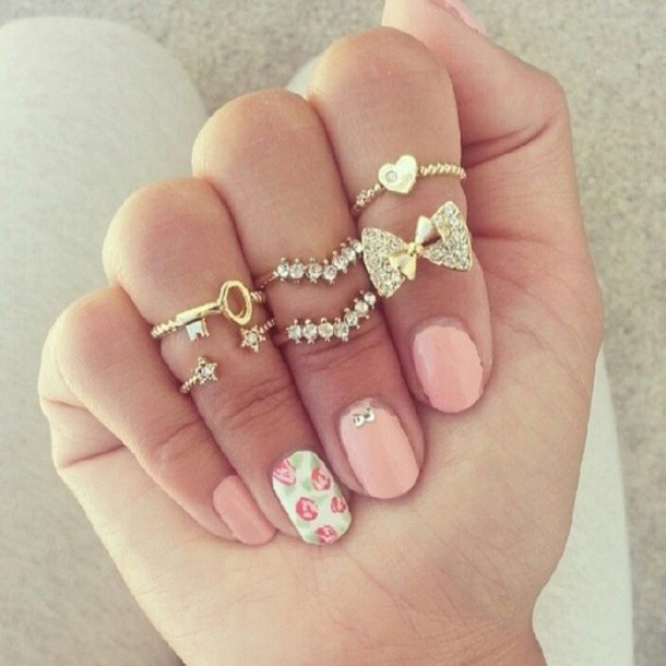 jewels, floral, jewelry, ring, bows, gold, gold ring, pink, cute ...