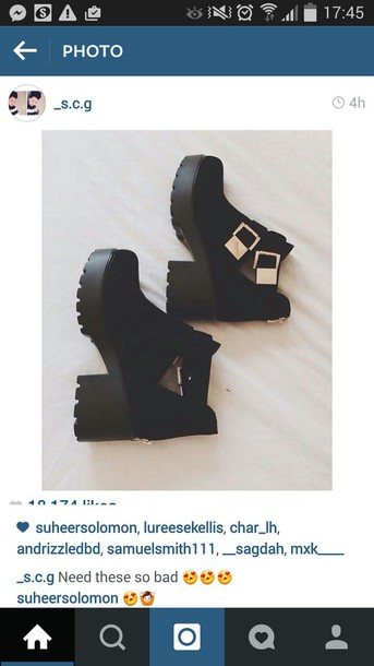 shoes black boots ankle boots grunge boots gold detailing heel boots chunky heels
