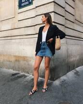 blazer,top,skirt,shoes,bag,denim