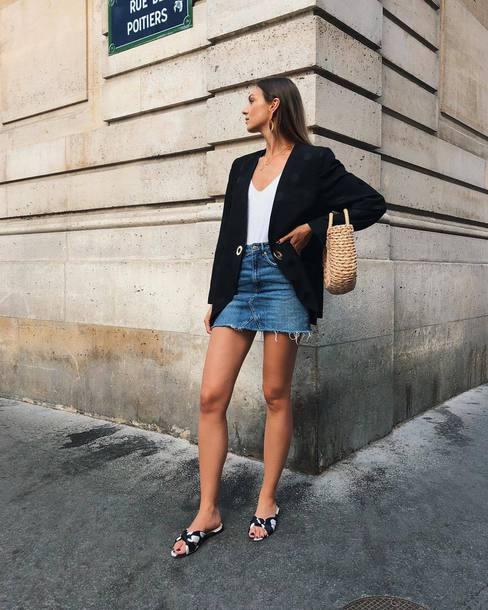 blazer top skirt shoes bag denim