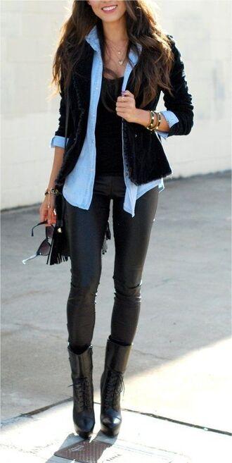jacket cardigan denim denim shirt leather pants leggings boots chic casual top shoes coat jeansshirt bag sunglasses shirt