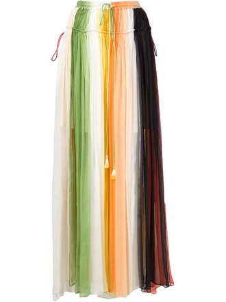 skirt pleated skirt chiffon rainbow pleated yellow orange