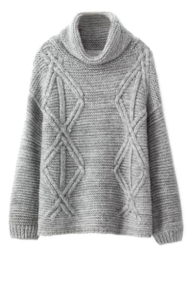Plain high neck long sleeve knitted sweater