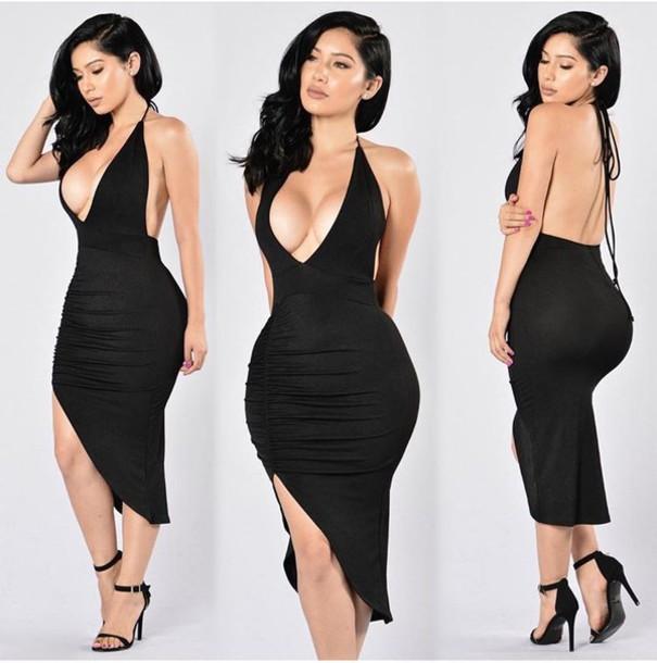 robe de cocktail noire sexy décolleté en V