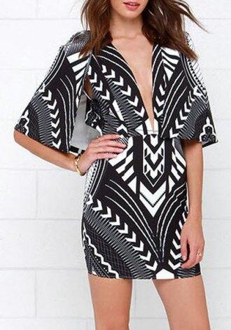 dress fashion style elegant summer pattern black and white short dress short sleeve