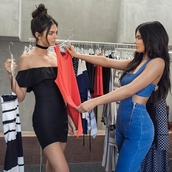 dress,kendall and kylie jenner,kendall jenner,kylie jenner,celebrity style,celebrity,black dress,ruffle dress,mini dress,choker necklace,sexy dress,off the shoulder dress,off the shoulder,jumpsuit,blue jumpsuit,jewels,dungarees,denim overalls,jewelry,necklace,black choker,kendall + kylie label,keeping up with the kardashians,overalls,jeans,denim,summer dress,summer outfits,instagram,celebstyle for less,absolutemarket,denim jumpsuit,trendy,style,jewel cult