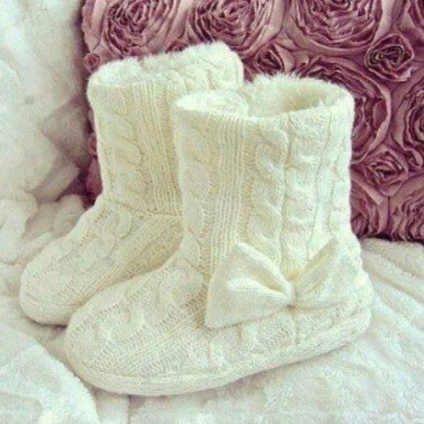 shoes bow white soft knitted style